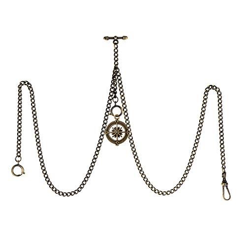 TREEWETO Taschenuhrkette mit T Bar Endstück Gesamtlänge 72cm Doppel Albert T-Bar Taschenuhr Kette mit Antiker Kompass-Anhänger und 3 Haken für Weste Knopfloch Bronze