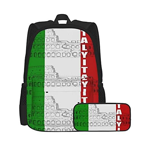 Zaino carino e fresco combinazione di astuccio multifunzione zaino bandiera italiana Colosseo romano per scuola, picnic, viaggio, resistente e antigraffio zaino