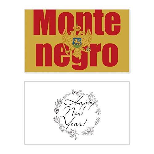 Montenegro Land Vlag Naam Nieuwjaar Card Herdenkingsbericht Zegen