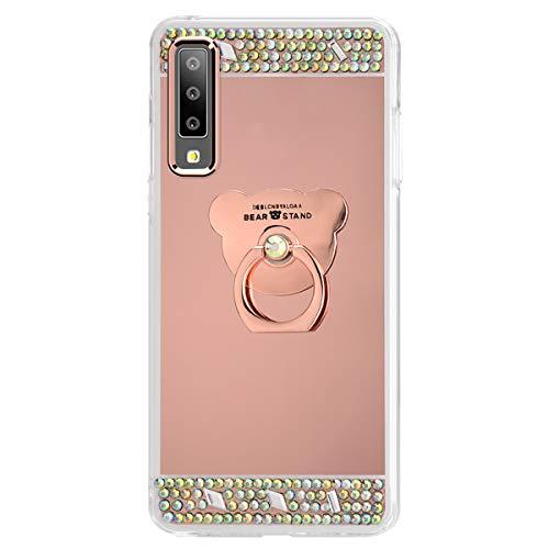 Ukayfe Custodia Compatibile con Samsung Galaxy A7 2018/A750,Specchio Custodia con Orso Anello Supporto Lusso Brillante Diamante Ultra Sottile TPU Silicone Morbido Mirror Cover Protettiva-Oro Rosa