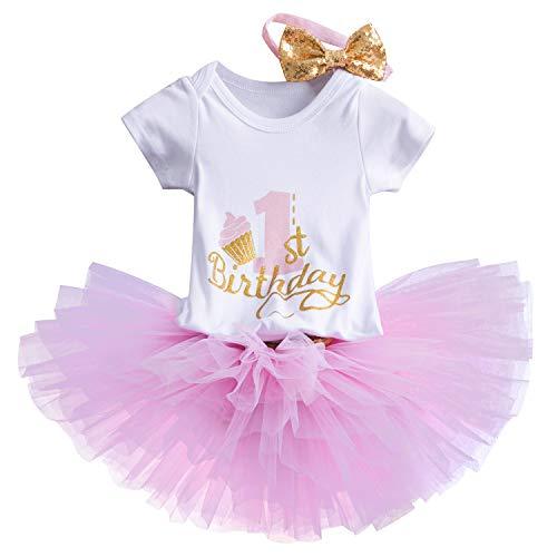 TTYAOVO Bebé Niña 1er cumpleaños 3pcs Conjuntos con Diadema de Unicornio y Mameluco y Faldas (10 Rosado, 1 año)