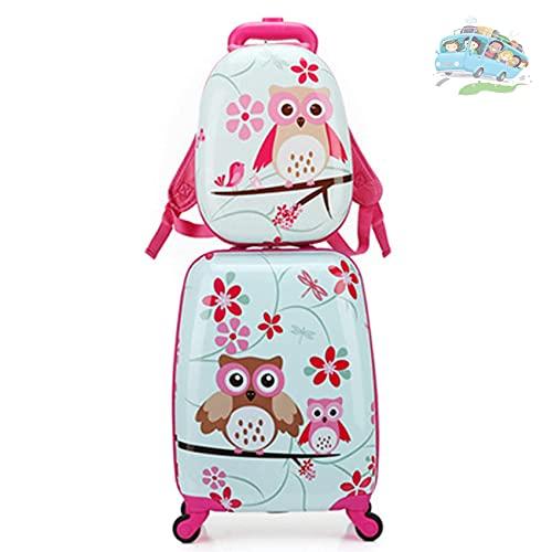 QIXIAOCYB Juego de equipaje de mano para niños de 45,7 cm, maleta rígida de viaje y mochila de 13 pulgadas, juego de equipaje para niños, se adapta a viajes de negocios, viajes escolares D (color: B)