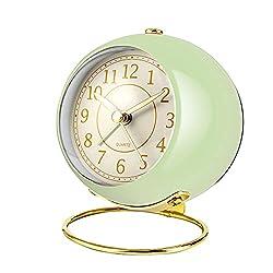 Small Desk Clocks for Shelf Bedroom Office, Table Alarm Clocks, Gold Vintage Metal Aesthetic Living Room Decor Clock, Non Ticking Silent,Battery Operated Mini Digital dial Cute Clocks(Light Green)