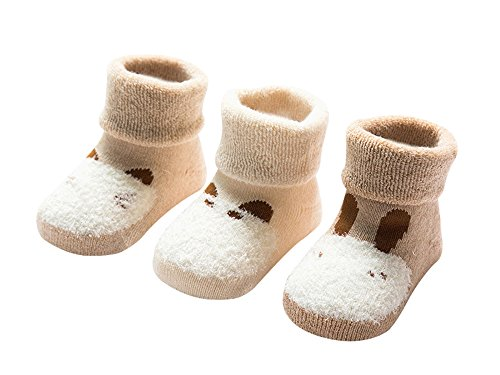 DEBAIJIA Bio-Baumwolle Babysocken für 0-6 Monate Jungen Mädchen Neugeborene Kleinkind Dicke Warm Socken Set 3er Pack Tiere Motiv - XS