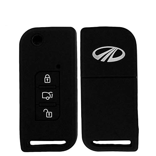 Combo Car Silicone Key Cover for 3 Button Remote Flip Key Shell/Case/Body for Mahindra XUV-500 (Black) Sold by H & S Designer Studio (Pack of 2 Pieces)