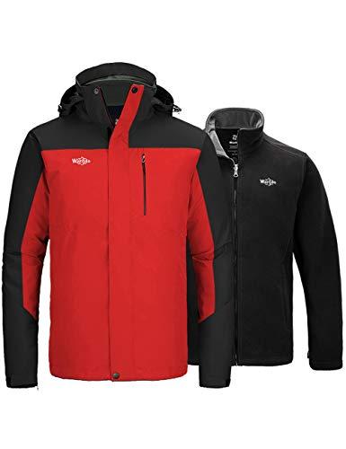 Wantdo Men's 3 in 1 Ski Jacket Warm Snow Winter Fall Coat Red Large