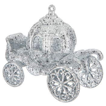 Fairytale Silver Cinderella Carriage Coach Birthday Sweet 16 Christmas Tree or Wedding Cake Topper Decoration
