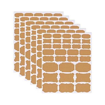 Étiquettes Kraft Autocollant écologique Auto-adhésif en Papier Kraft, Taille Assortie, Autocollant pour Tableau Noir Autocollant Kraft Vierge pour la Maison, bocaux Mason, Cadeau, 6 Feuilles (192pcs)