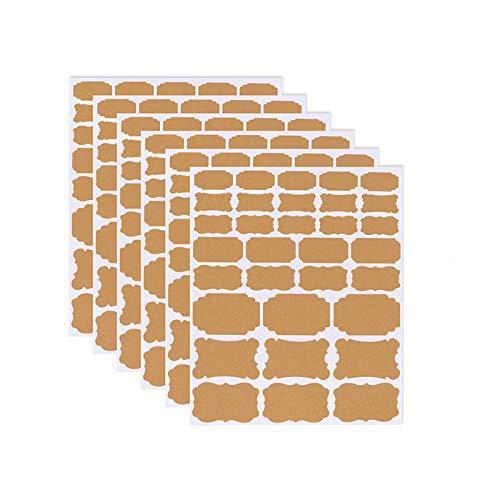 Etiquetas Kraft, etiqueta autoadhesiva ecológica de papel Kraft DIY Etiquetas adhesivas Kraft pequeñas en blanco Etiquetas de regalo para tarros de albañil y decoración de regalo, 6 hojas (192 piezas)