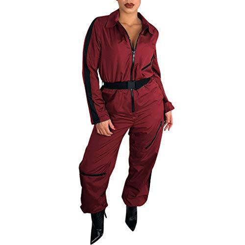Yying Femmes Patchwork Zipper Combinaison Casual Manches Longues Turn-Down Callor Salopette avec Ceinture Crayon Pantalon Femmes Combinaison