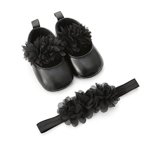 Scarpe Neonata Fiore con Cerchietto Battesimo Set Regalo, Bambina Anti Scivolo Mary Jane Scarpe per Neonata (12-18 Mesi, Nero)
