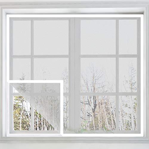 Eageroo DIY selbst abschnittbar Fliegennetz Ohne Bohren Insektenschutz Klettband Fliegengitter Fenster mit Klettband 130cm X 150cm (weißes Klettband)