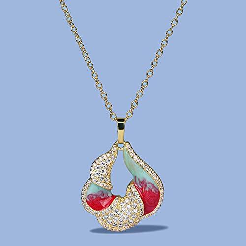 DOOLY Collar con Colgante de Mujer de Color Esmalte Colorido de Oro de 18 k, Cadena de clavícula de circonita Brillante para Mujer, joyería de Plata 925, Esmalte Hecho a Mano