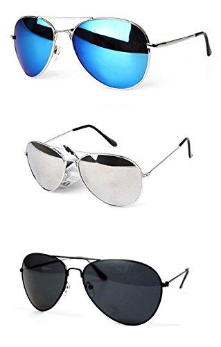 PURECITY©® Lot de 3 paires de Lunettes de Soleil Aviateur - Verres Effet Miroir - Monture Métal - Collection Mixte Fashion Tendance (Miroir bleu + Miroir argent + Noir)