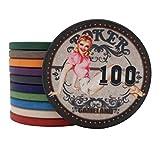 TX GIRL 25pcs / Sets De Belleza Chica De Cerámica Fichas De Poker Texas Hold'em Baccarat Casino Club Naipes Mahjong ETP Chips Set Juegos De Mesa (Color : 100 Face Value)