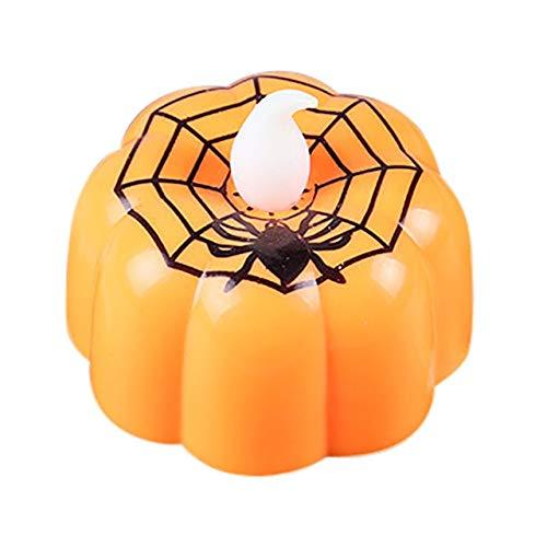 QZXCD Halloweenlampen creatief 1 stuk batterij aangedreven Halloween pompoen licht flikkeren LED-licht vlamloze kaars speciale party tuin decoratie B