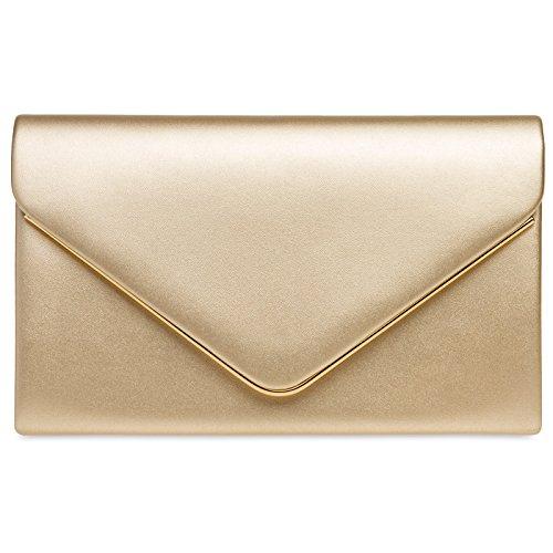 Caspar TA413 Damen elegante Envelope Clutch Tasche Abendtasche mit langer Kette, Farbe:gold,...