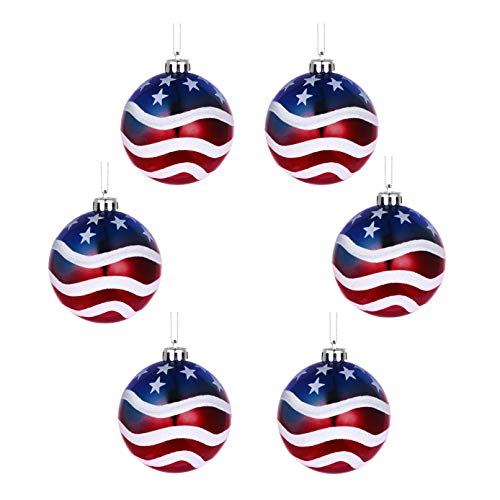 6PCS Hanging Ball Christmas Ball Ornaments Christmas July of 4th Ball Hanging Independence Day Party Decor Christmas Ornaments Patriotic Ball Ornaments Holiday Wedding Tree Hanging Decorations