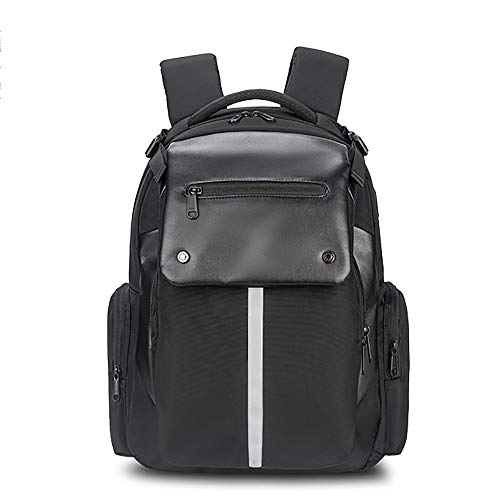 MH-RING Laptop Backpack with USB Charging Port, 15.6-Inch Mens Business rucksack Waterproof, Students Daypack for Travel with Reflective Strips (Color : Black)