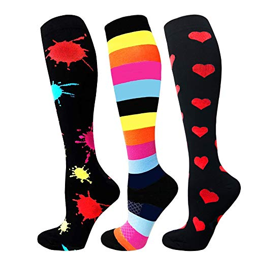 Diu Life Compression Socks for Men & Women - 3 Pairs - Best for Running,Medical,Sports,Flight Travel, Pregnancy - 20-25mmHg(splash-ink+color stripe+heart,L/XL)…