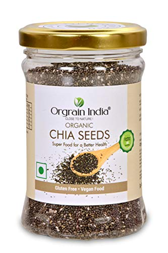 Orgrain India Certified Organic Chia Seeds 160g | Company-Owned Farmlands | Omega 3 | Fiber for Weight Loss