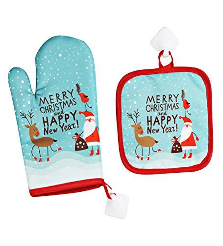 losolese Backhandschuhe Weihnachten ofenhandschuhe und topflappen, backofen Handschuhe Hitzebeständige rutschfeste küche Koch-Handschuhe für Küche,Grillen,Weihnachten BBQ