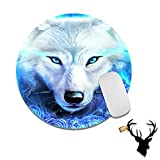 Gaming Mouse Pad Mat Blue Wolf Mousepads with Cute Stickers Non-Slip Rubber Base Round Mouse Pads for Laptop Compute Working Home Office Accessories