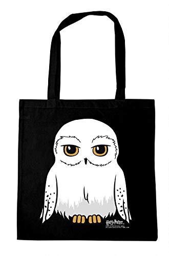 Logoshirt - Harry Potter - Eule - Hedwig - Baumwolltasche - Stofftasche mit Druck und langen Tragegriffen - schwarz - Lizenziertes Original Design