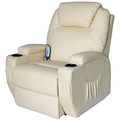 HOMCOM Poltrona Relax Massaggio Reclinabile a 8 punti con Riscaldamento 92 x 84 x 109cm Crema