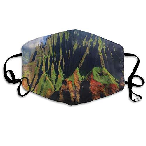 MundschutzAtmungsaktiveGesichtsmundabdeckungStaubdichter,Aerial View of NA Pali Coast Kauai Hawaii Mountain Cliff Seacoast Scenic Photo,Gesichtsdekorationen