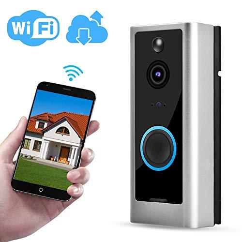 720P HD WiFi Wasserdichte Video Türklingel, Video Intercom Türklingel mit Bewegungserkennung/Nachtsicht / 125 ° Weitwinkel/Unterstützung für Alexa Google Home(EU with Ding Dong)