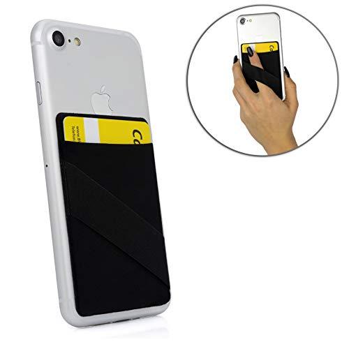 MyGadget 1 Fach Kartenhalter + Fingerhalterung für Smartphones RFID Blocking - Haftendes Kartenfach, Karten Halterung - Handy Kartenhülle Wallet Schwarz