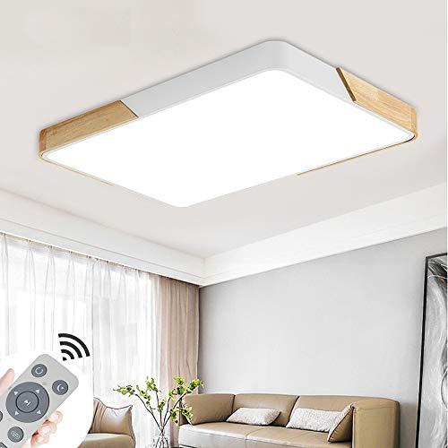 COOSNUG 72W Modern LED Deckenleuchte Holz Dimmbar Deckenlampe Wohnzimmer Flurleuchte Küche Panel Leuchte [Energieklasse A++]