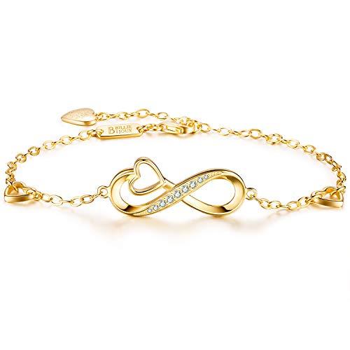 Billie Bijoux 925 sterline d'argento Infinito Cuore Bracciale regolabile in oro bianco placcato con simbolo di amore senza fine (C-gold)