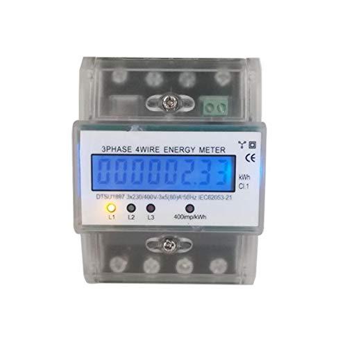 Digitaler Stromzähler Drehstromzähler Wattmeter für DIN Hutschiene, Energiemessgerät mit Wattanzeige 50Hz 5(80) A 230/400V 3 Phasen 4 Draht