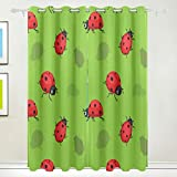GraciasU Ladybug Cartoon Thermo-Isolierter Verdunklungsvorhänge für Wohnzimmer, Schlafzimmer, Küche, 2 Paneele, 140 x 213 cm