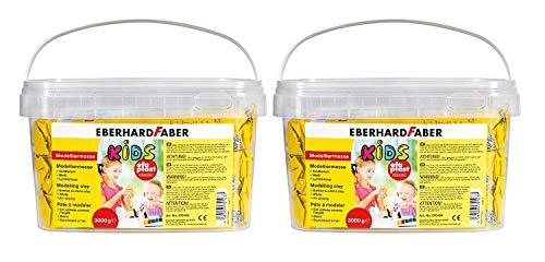 Eberhard Faber 570103 - Modelliermasse EFA Plast Kids, 3 kg (Weiß, 2 Stück)