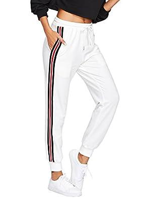 SweatyRocks Women's Drawstring Waist Striped Side Jogger Sweatpants with Pockets (X-Small, White)