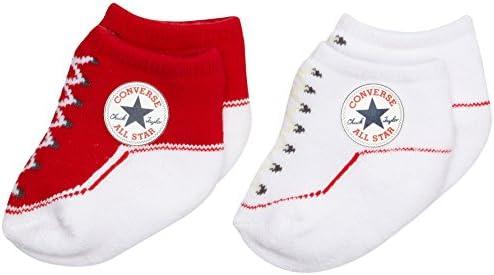 Converse 2 Pack Booties Calcetines, Rojo (Red), 0/6 meses (Talla del fabricante: 0-6M) para Bebés