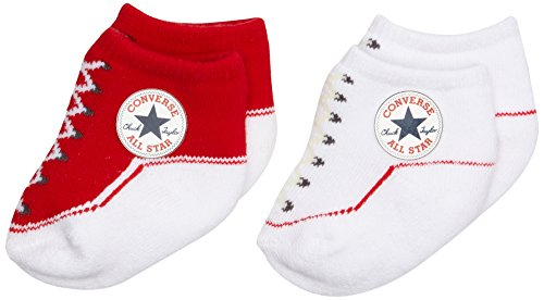Converse 2 Pack Booties Calcetines, Rojo (Red), 0/6 meses (Talla del fabricante: 0-6M) para Bebés