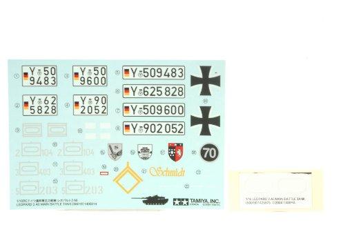 TAMIYA 309400123 - Dekorbogen Leopard 2A6 56020, Modellbauzubehör