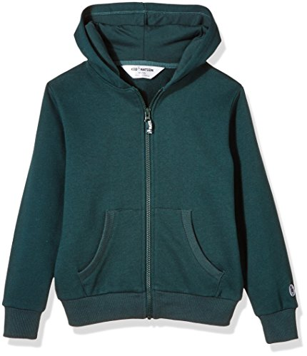 Kid Nation Kids' Brushed Fleece Zip-up Hooded Sweatshirt for Boys Or Girls Small Evergreen