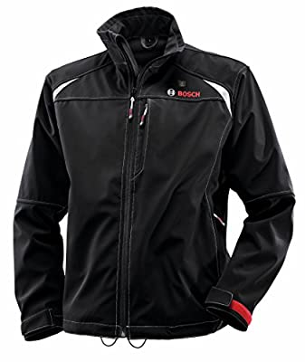 Bosch Men's 12-volt Max Lithium-Ion Soft Shell Heated Jacket Kit with 2.0Ah Battery, Charger and Holster