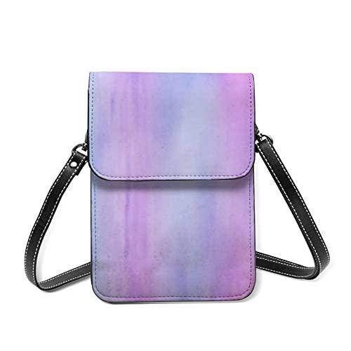 Damen-Geldbörse, Leder, Schultertasche, bunte Ölfarben, Mini-Tasche mit verstellbarem Riemen, Buntes altes Papier, Einheitsgröße