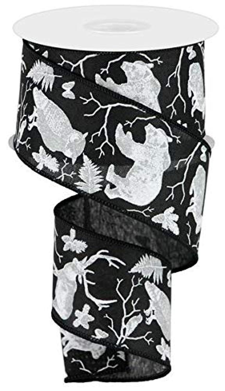 Woodland Animals on Canvas Wired Edge Ribbon, 10 Yards (Black, White, Light Grey, 2.5