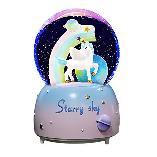 KiKa Monkey Einhorn Schneekugel Glas Spieluhren Musik Glas Ball Saisonale Dekoration Raumdekoration Stimmung Licht (Blau)