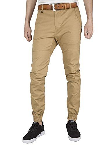 ITALY MORN Planas delanteras pantalones caqui casual Chino basculador ajuste delgado elástico del manguito (36,) para Hombres Caqui S (32W x 32L)