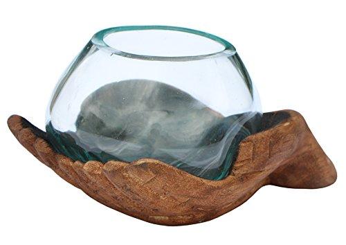 Balibarang-Shop Geschenk Handmade Deko Glas Ø 10 cm in geschnitzter Holz Schale Vase Hand XS