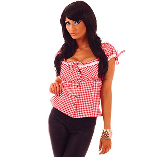 Fashion4Young 20611 Damen Dirndlbluse Bluse Trachtenbluse Trachten Oktoberfest Miederbluse Hemd Lederhose (L=40, rot-Weiss)