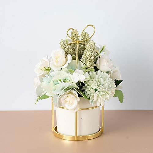 SANHOC Edle kleine frische Nordic gefälschte Blumenklage (Blume + Vase) künstliche Blumen nach Hause Wohnzimmer Dekoration Tisch Blumendekoration: H